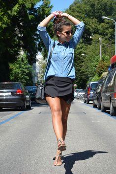 Black skort & Denim shirt