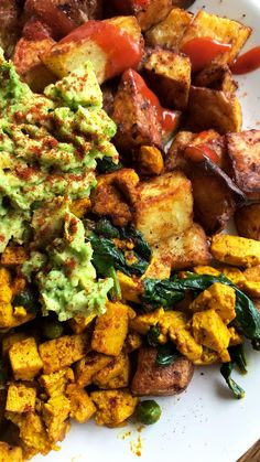 Started the day right today. Tofu scramble roast potatoes avo and sriracha!
