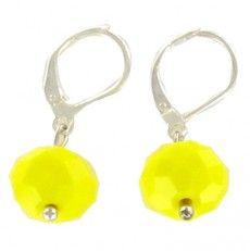 Boucle d'oreille Vénus jaune Perle de Bohème opaque de 12mm Attache argent 925