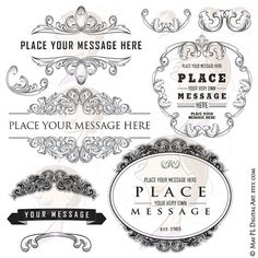 Flourish Frames Clip Art Head Piece VECTOR Digital Filigree Graphics Baroque Design Vintage Decorative Engraved Foliage Fine Ornament 10165 #Flourish #Frames #ClipArt