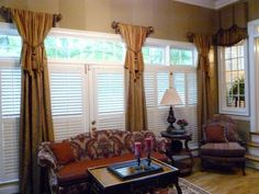 Dressing my two bay windows - The Curtain Call: Before and After: Columns of Color for a Sunroom