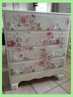 Beautiful old draws refurbished.using craig n rose pale cream. draw fronts cove… Beautiful old draws refurbished.using craig n rose pale cream. draw fronts covered in a vintage floral fabric. main draws waxed for protection. Decoupage Furniture, Refurbished Furniture, Paint Furniture, Furniture Projects, Furniture Makeover, Refurbished Phones, Furniture Design, Decoupage Dresser, Decoupage Plates