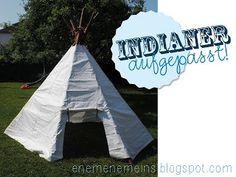 Garten Zelt aus Bettlaken/ Tipi für Gartenindianer aus alten Bettlaken