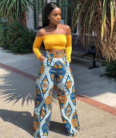 model of wide pants in African fabric, example women& trousers in wax . African Fashion Designers, African Inspired Fashion, African Print Fashion, Africa Fashion, African Print Dresses, African Fashion Dresses, African Dress, Fashion Outfits, African Outfits