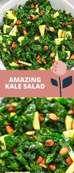 This Amazing Kale Salad is so scrumptious. Made with roasted almonds and crisp apples, it's just bursting with delicious flavors.