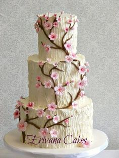 Tree Trunk Cherry Blossom Wedding Cake by erivana - http://cakesdecor.com/cakes/206836-tree-trunk-cherry-blossom-wedding-cake