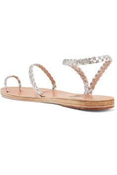 Ancient Greek Sandals - Eleftheria Braided Metallic Leather Sandals - Silver - IT