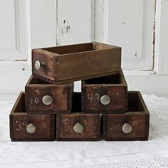 Dark Old Wood Storage Boxes