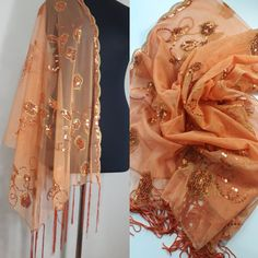 Vintage Gold Sequined Embroidery Shawl-Exquisite Yellow Orange Scarf - #scarves #shawls #wraps #dresscover-up #handmade #uniquegift