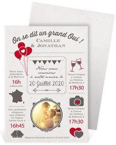 Faire part mariage original et vintage avec un graphisme qui séduira vos proches à coup sûr, ref N241105