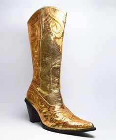 Loving this Gold Embellished Cowboy Boot on #zulily! #zulilyfinds