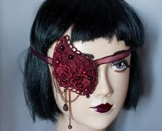 goth eyepatch | Cunene Eyepatch victorian gothic pirate Burgundy Wine Lace and pearls