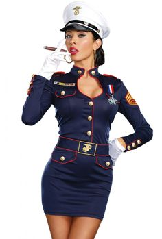 Navy Blue Sailor Man Costume Officer Role Play Fancy Dress Party Outfit