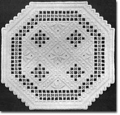 Hardanger Needlework- my way of relaxing on a cold winter night.  Creating my own pattern is difficult as the layout and design is all in the counting and spacing of the stitches.