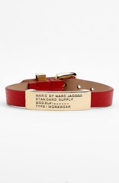 We are crushing on this red, leather bracelet.