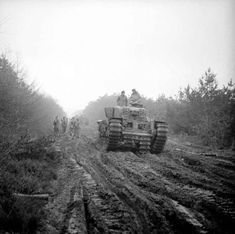 FEB 8 1945 Operation Veritable – British and Canadians attack - See more at: http://ww2today.com A Churchill tank ploughs along a muddy, heavily rutted forest track in the Reichswald during Operation 'Veritable', 8 February 1945.