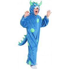 Blauw monster pak voor kinderen. Dit enge verkleedpak is makkelijk aan te trekken door middel van een rits aan de voorzijde. Het monster kostuum is verkrijgbaar in verschillende maten.