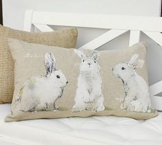 Watercolor Bunny Lumbar Pillow Cover #potterybarn Limited Quantities. Must buy soon if i really want it