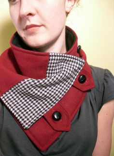 Neck Warmer Scarf in Black and White Houndstooth and Red Wool