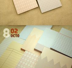 Sticky notes with grids, etc.