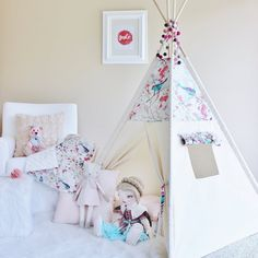 FLORAL BIRDS Canvas Tipi Teepee Play Tent Play by AshleyGabby