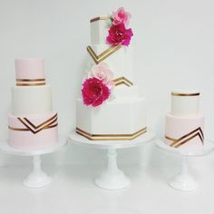 Art Deco Inspired Geometric Patterrned Fondant Wedding Cakes featuring Wafer Paper Flowers