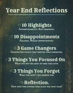 Take time before the end of the year to really review and reflect. Use this Year End Reflection guide to help inform your plans for the new year!  -Running Hutch