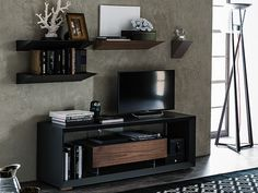 Low lacquered wooden TV cabinet BOXER by Cattelan Italia