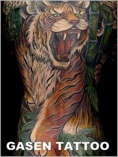 背中,額,虎,竹,動物のタトゥーデザイン|タトゥーナビ