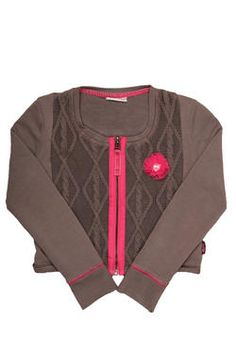 The perfect layering piece! A gorgeous zip-up cardigan with cable knit front panels, finished with a flower trim. From Naartjie Kids SA.