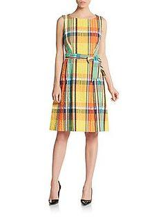 Anne Klein Plaid Cotton Dress - Tangerine - Size