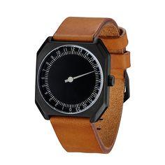slow Jo 19 - Brown Vintage Leather, Black Case, Black Dial