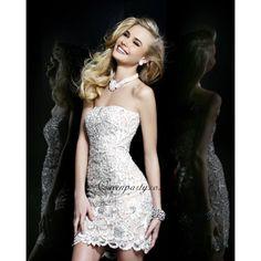 2013 White Beaded Strapless Short Prom Dress P028
