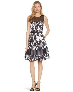 22223f3713 White House | Black Market Sleeveless Black and White Floral Fit and Flare  Dress #whbm