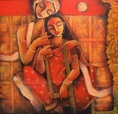 Folk art by Samar Basak Krishna Painting, Krishna Art, Radhe Krishna, Indian Folk Art, Indian Artist, India Painting, Art Beat, India Art, Naive Art
