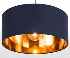 Oro Pendant Drum Lamp Shade, Navy and Copper Yatak odası – home accessories Navy Bedrooms, Navy Living Rooms, Blue Bedroom, New Living Room, Navy Copper Bedroom, Queen Bedroom, Modern Bedroom, Master Bedroom, Do It Yourself Sofa
