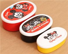 Mickey and Minnie Mouse Bento Box 3 pcs from Japan