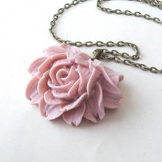 Dusky Pink Shabby Rose Necklace by TemporalFlux for $16.00