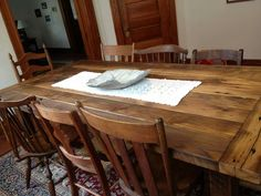 wooden dining table #rustic #wood #markelwoodwoodwork