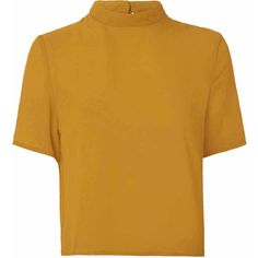 Mustard High Neck T Shirt (105 RON) ❤ liked on Polyvore featuring tops, t-shirts, yellow, pattern tops, mustard yellow top, yellow top, high neck top and a line tops