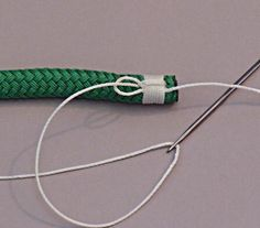 Step 10 Pull the slack out of the loop and then tie the whipping twine to a fid or other object, this is to protect your fingers when the loop is buried Sailing Knots, Sailing Gear, Splicing Rope, Yacht Rope, Paracord Projects, Paracord Ideas, Best Knots, Nautical Knots, Braided Line