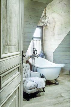 Inspiring & Dreamymore decayed elegance in design- plank clad vintage antique dormer bathroom bath bathtub sitting room limewashed whitewashed wooden walls