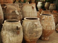 Pithari, or Greek oil jar, was historically used for food and liquid storage. Our vintage Greek pots can be used as unique planters for any garden design. Ceramic Pots, Terracotta Pots, Ceramic Pottery, Olive Oil Jar, Vases, Pot Jardin, Urn Planters, Garden Urns, Stoneware