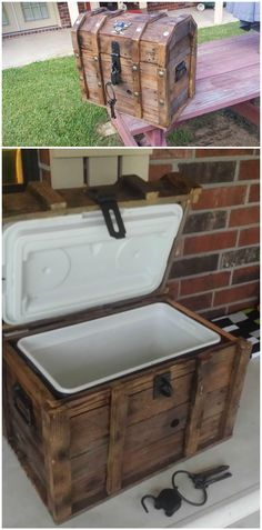 Recycled Pallet Treasure Chest Cooler From Reclaimed Pallets DIY Pallet Furniture - Simply built a chest around a cooler with recycled wooden pallets. Pallet Home Decor, Wooden Pallet Projects, Pallet Crafts, Wooden Pallets, Old Pallets, Wooden Diy, Pallet Furniture, Diy Projects, Wooden Case