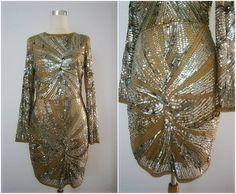 CHAMELEON Sequin Dress // Alien Green Sequined Dress // Fringe ...