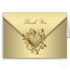 Gold Heart Thank You Cards
