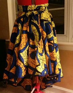 Fun Afrikan Ankara Print Wax Cotton Hi-Lo Midi Skirt with Tie