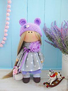 Купить Девочка с тортиком - сиреневый, интерьерная кукла, интерьерная игрушка, кукла ручной работы, кукла