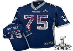 New England Patriots #75 Vince Wilfork 2015 Super Bowl XLIX Drift Fashion Blue Elite Jersey