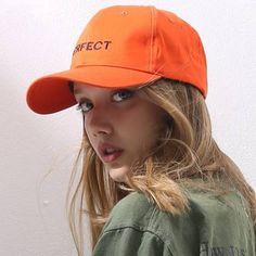 Letter Perfect Embroidered baseball cap for teenage girls orange hip hop  caps bfc9af590148